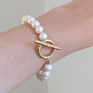 Freshwater Pearls Bracelet Gold Plated Toggle